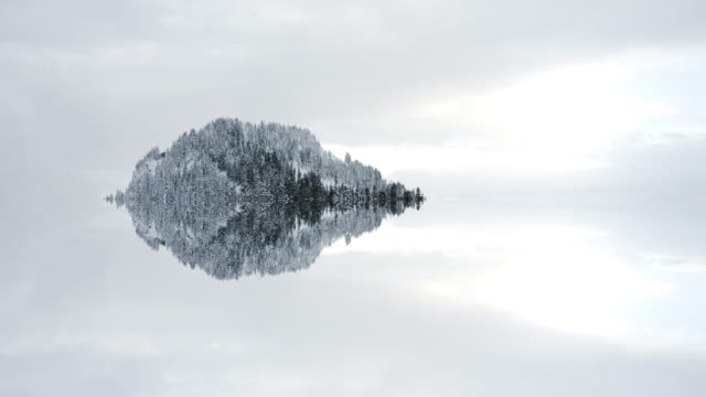 island mountain forest snow covered trees mirror reflection floating in clouds copy space titling winter background background - дистанционный стоковые видео и кадры b-roll