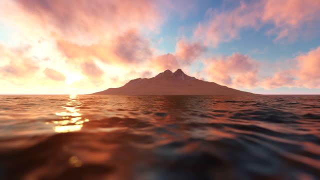 Blick auf die Insel bei Sonnenuntergang – Video