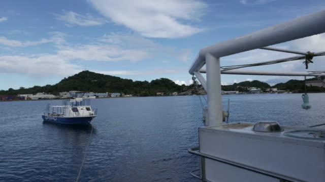vídeos y material grabado en eventos de stock de la isla vista desde la cubierta del barco, koror, palau - sea life park