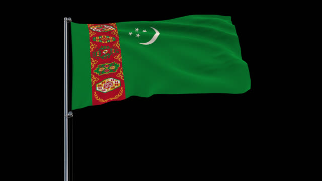 Isolate big flag of Turkmenistanon, 4k prores 4444 footage with alpha Isolate big flag of Turkmenistanon a flagpole fluttering in the wind on a transparent background, 3d rendering, 4k prores 4444 footage with alpha transparency turkmenistan stock videos & royalty-free footage
