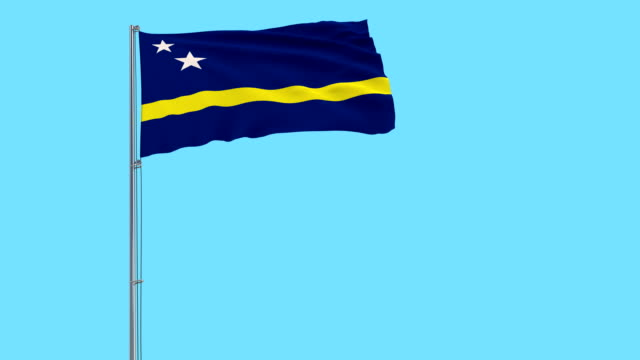 Isolate flag of Curacao on a flagpole fluttering in the wind on a blue background, 3d rendering Isolate flag of Curacao on a flagpole fluttering in the wind on a blue background, 3d rendering curaçao stock videos & royalty-free footage