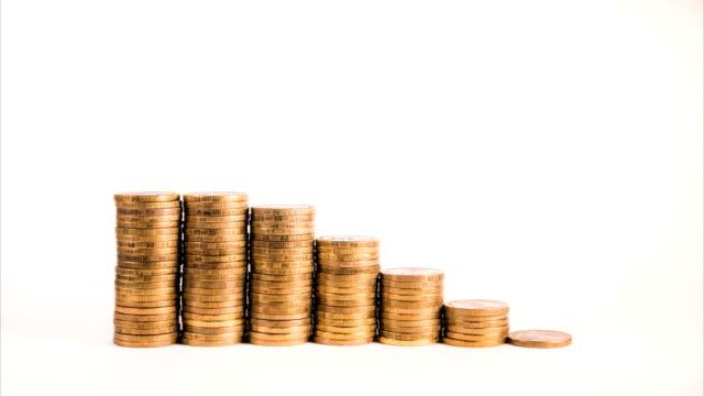 vídeos y material grabado en eventos de stock de gráfico de movimiento de moneda de oro aislado muestra pérdidas en los ingresos - bajo posición descriptiva