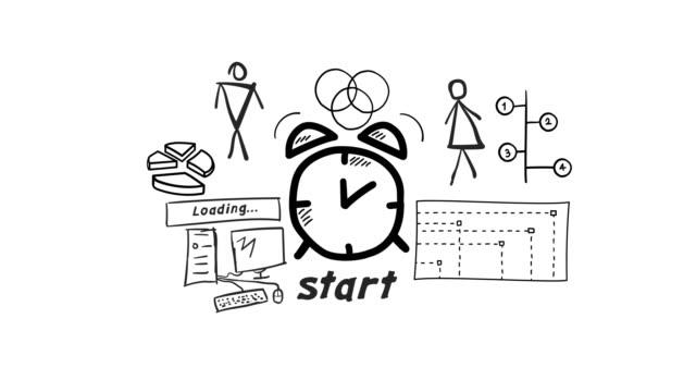 vidéos et rushes de icône d'horloge d'alarme dessinée à la main d'isolement - infographie. - book