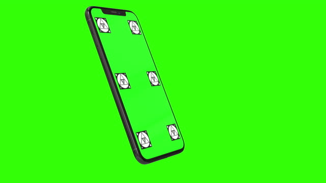 vídeos de stock e filmes b-roll de isolated smart phone with green screen - modelo arte e artesanato