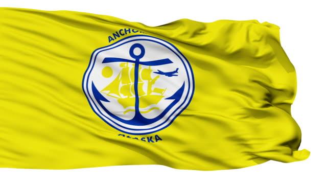 isolato sventolando bandiera nazionale di anchorage città - alaska stato usa video stock e b–roll