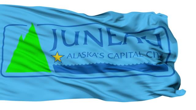 isolato sventolando bandiera nazionale di juneau città, alaska - alaska stato usa video stock e b–roll