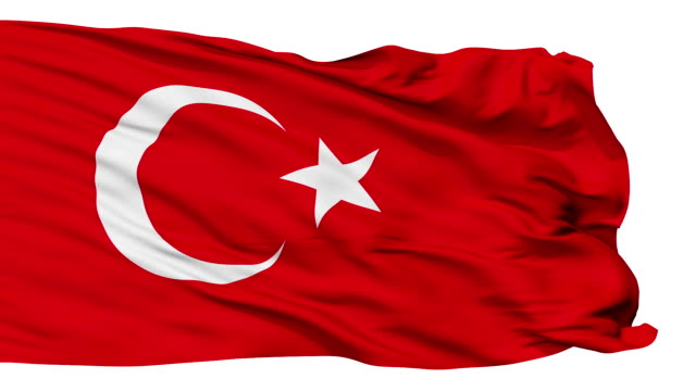 Isolated Waving National Flag of Turkey video