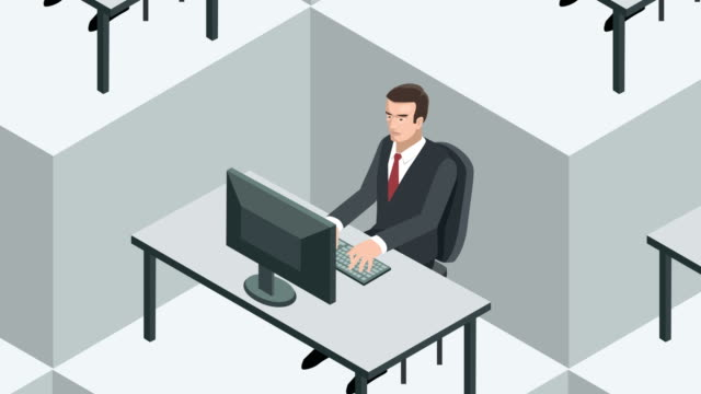 Isometric block office workplace with businessman clones Office Workplace Animation office cubicle stock videos & royalty-free footage