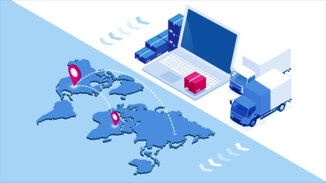 Isometric Checking delivery and ligistics service app on computer. Delivery truck with cardboard box and delivery man. Infographics. HD Video. Isometric Checking delivery and ligistics service app on computer. Delivery truck with cardboard box and delivery man. Infographics. HD Video. post structure stock videos & royalty-free footage
