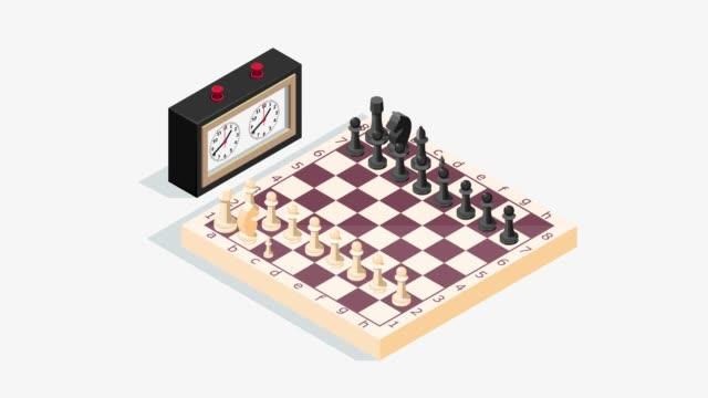 isometrisches schachbrett mit uhr. animierte 4k - könig schachfigur stock-videos und b-roll-filmmaterial