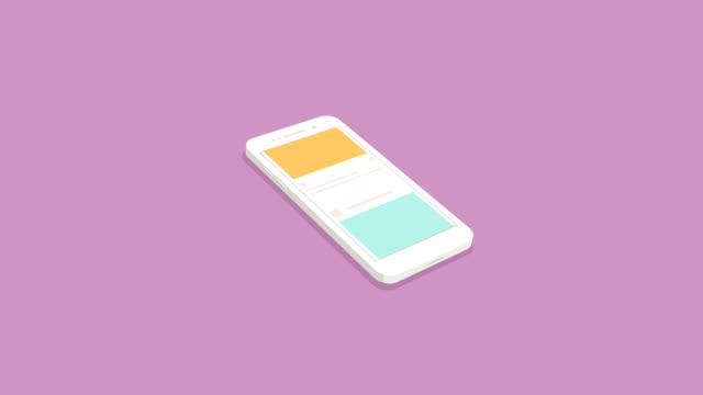 smartphone concetto isometrico con social network - icona dei social network video stock e b–roll