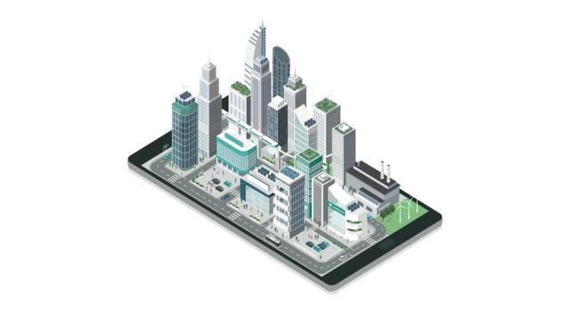 isometrische moderne stadt mit wolkenkratzern, gebäude - smart city stock-videos und b-roll-filmmaterial