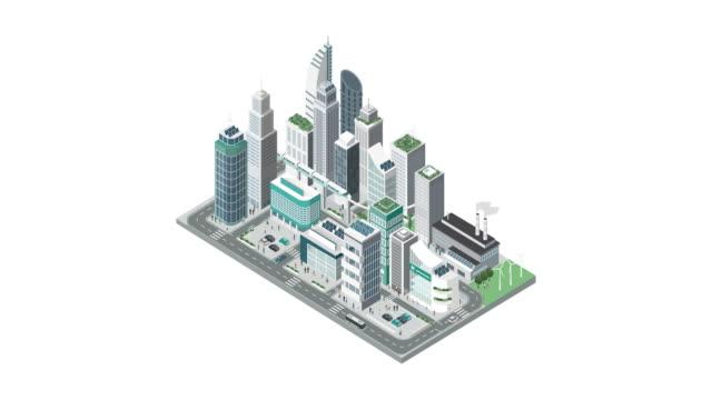 stockvideo's en b-roll-footage met isometrische hedendaagse stad met wolkenkrabbers bouwen - isometric