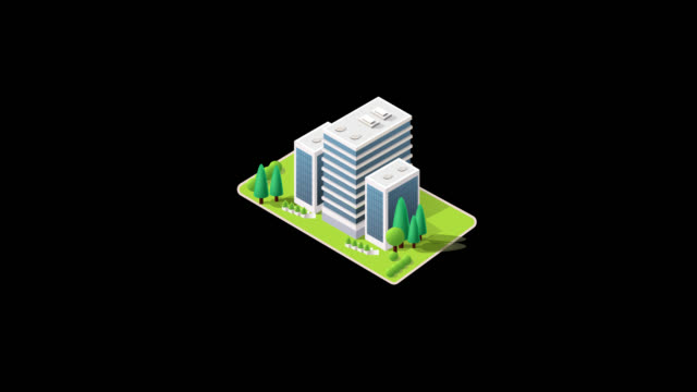vídeos de stock e filmes b-roll de isometric modern building with garden animation pop up with alpha channel.modern building growing up motion infographic. - shop icon