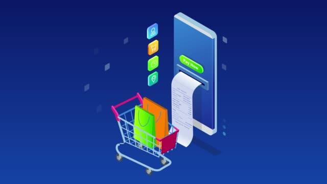 stockvideo's en b-roll-footage met isometrische online winkelen en betalen, verkoop, consumentisme en online store. mobiele marketing en e-commerce. internet betalingen, bescherming geld overschrijving, online bank. hd video. - isometric