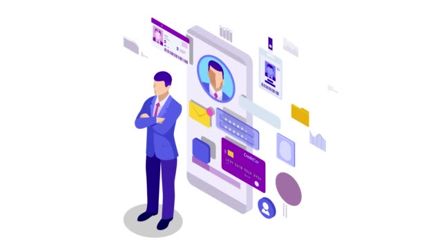stockvideo's en b-roll-footage met isometrische informatiegegevens app, identity private concept. digitale gegevens secure banner. biometrietechnologie voor persoonlijke identiteitsherkenning en toegangsverificatie. hd video. - isometric