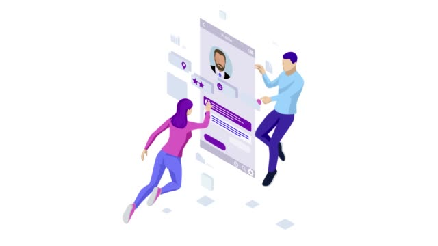 Isometric Personal Data Information App, Identity Private Concept. Digital data Secure Banner. Biometrics technology for personal identity recognition and access authentication. HD Video.