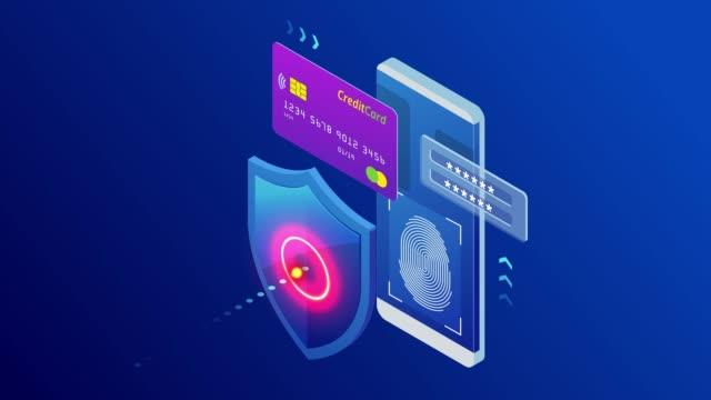アイソメトリック保護ネットワークセキュリティと安全なデータコンセプト。web ページデザイン テンプレート サイバーセキュリティ。匿名のハッカーによるデジタル犯罪。hdビデオ。 - ウイルス対策ソフト点の映像素材/bロール