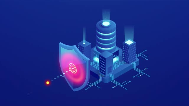 Isometric Protection network security and safe your data concept. Web page design templates Cybersecurity. Digital crime by an anonymous hacker. HD Video.