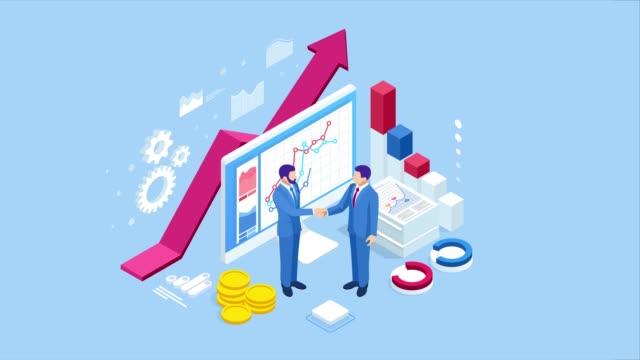 stockvideo's en b-roll-footage met isometrische succesvolle zakelijke samenwerking. zakenlieden die handen schudden. b2b. data- en key performance indicators voor business intelligence analytics hd video - isometric