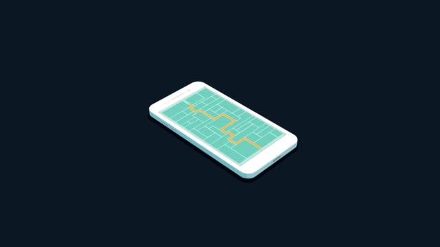 stockvideo's en b-roll-footage met isometrische taxi verkeer kaart op het scherm van de telefoon - isometric
