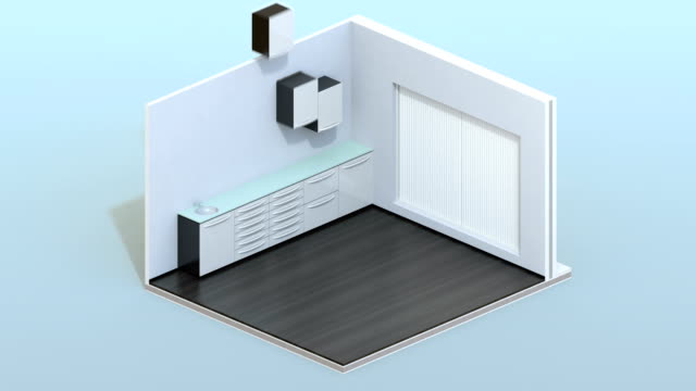 isometric view of dental clinic interior with dental chair and cabinet system - autoclave video stock e b–roll