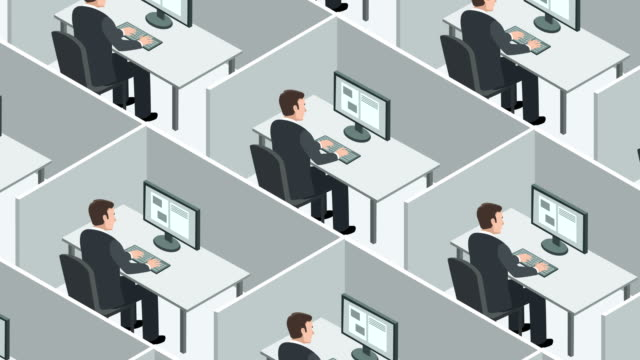 Isometric view of the cubicles room with identical clones man business concept Office Workplace Animation office cubicle stock videos & royalty-free footage