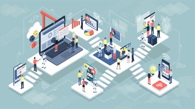 Isometric virtual office with people and robots working together