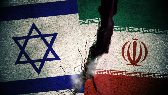 Israel vs Iran Flags on Cracked Wall video