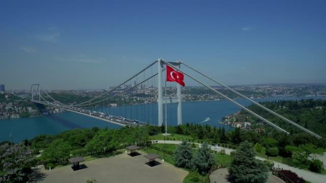 istanbul bosphorus bridge aerial video