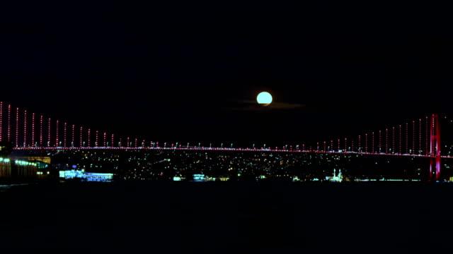4K Istanbul Bosphorus Timelapse - Supermoon Rising 4K Istanbul Bosphorus Timelapse - Supermoon Rising turkey middle east stock videos & royalty-free footage