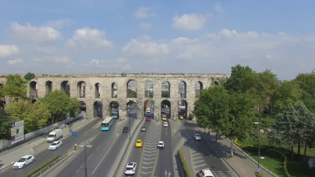 Istanbul Historical Aqueduct Aerial View of Historical Aqueduct and İstanbul. aqueduct stock videos & royalty-free footage