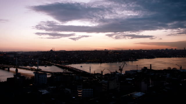 Istanbul panorama view during sunset video