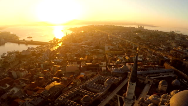 Istanbul Suleymaniye Mosque Ariel view of Suleymaniye mosque with bosphorus istanbul stock videos & royalty-free footage
