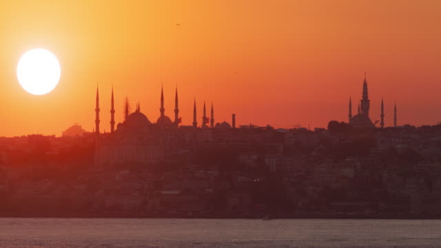 Istanbul sunset behind the silhouette of Blue Mosque video