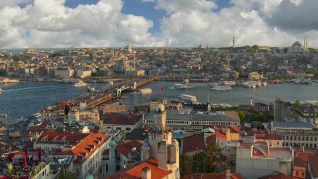 Istanbul, Turkey. Sunset view of Istanbul city center from Galata tower. Ferries sail along the Golden Horn Bay near the Galata Bridge