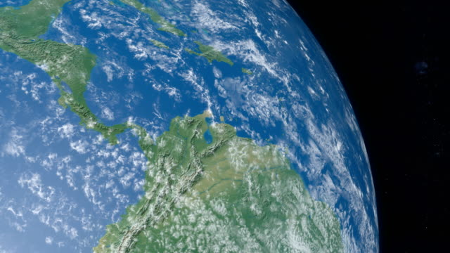 Isthmus of Panama in Planet Earth from the outer space Animation of Isthmus of Panama in Central America continent in planet earth from outer space gyrating in timelapse with the universe at background aerial map stock videos & royalty-free footage