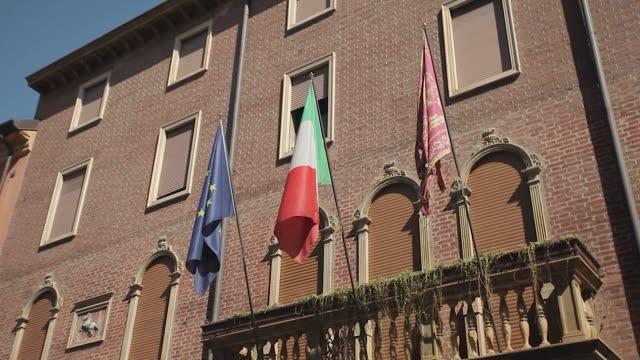 Italian and european flag in an historical building