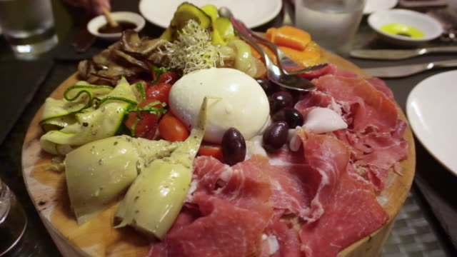 Italian antipasto dried ham, cheese and grilled vegetable video