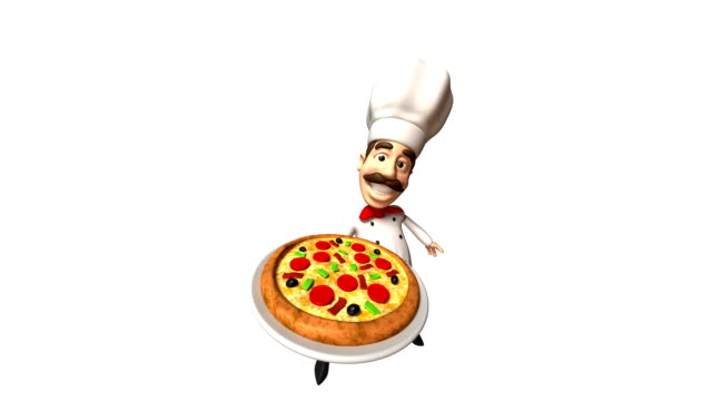 Italian chef with a pizza video