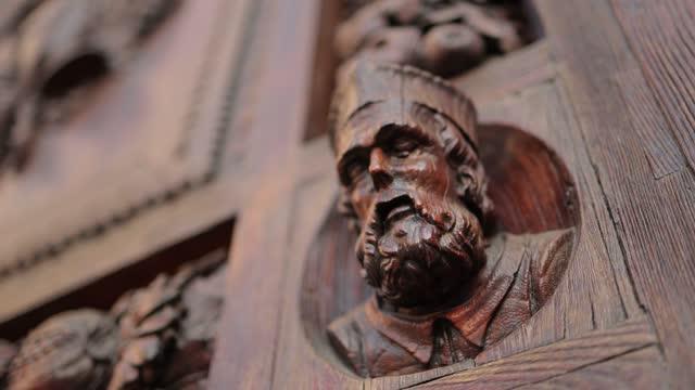 Italian Church wooden door decoration
