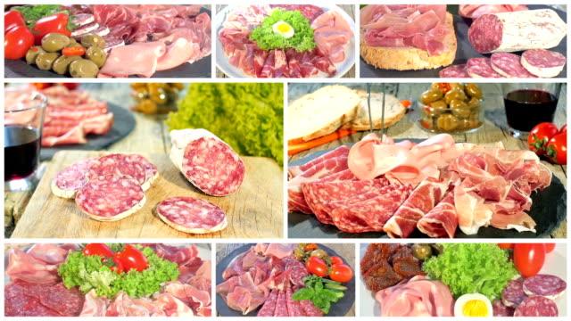 vassoi collage di carne italiana stagionato - mortadella video stock e b–roll