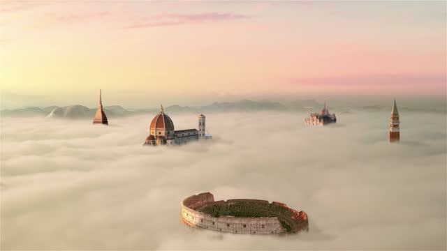 italian famous  landmarks colosseum over clouds aerial view