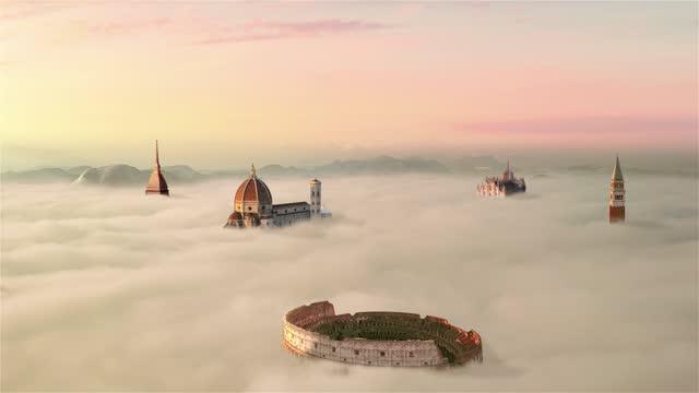 italiano monumenti famosi colosseo sopra nuvole vista aerea - milan fiorentina video stock e b–roll