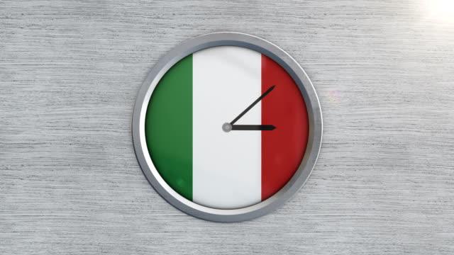 timelapse orologio bandiera italiana - milan fiorentina video stock e b–roll