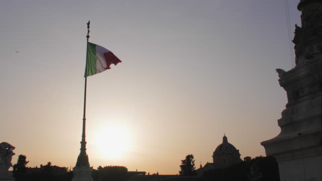 Italian flag in the sunset in Rome video