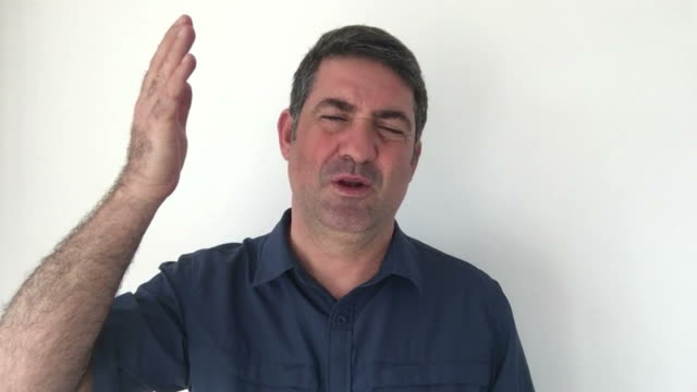 Italian man demonstrate Long time ago sign of Italian hand gestures video