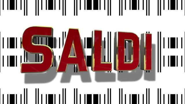 Italian Sale 3D Looping Animation With Barcode Abstract Line Background video