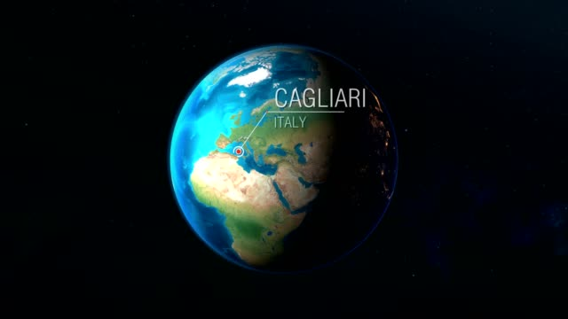 italy - cagliari - zooming from space to earth - cartina italia video stock e b–roll