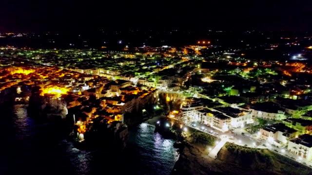 italy coast city drone apulia bari night flight - tropea video stock e b–roll